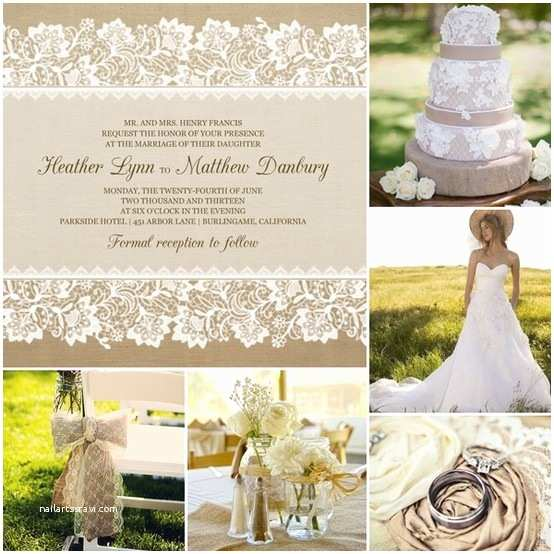 Burlap and Lace Wedding Invitations Burlap and Lace