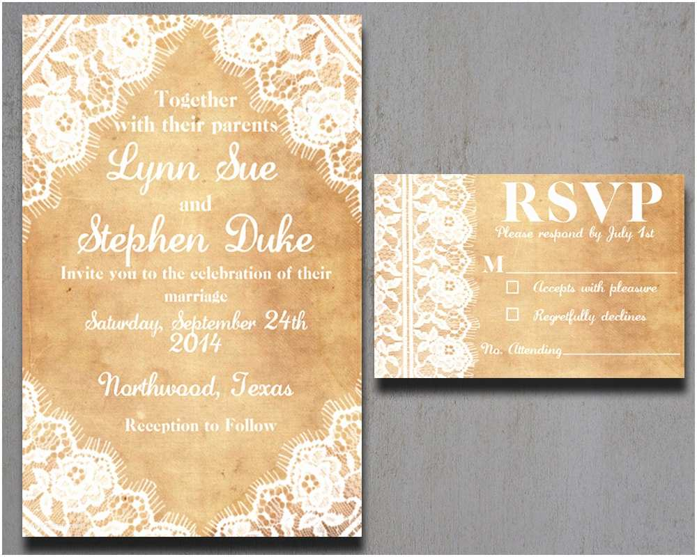 Burlap and Lace Wedding Invitations Burlap and Lace Wedding Invitations Vintage by