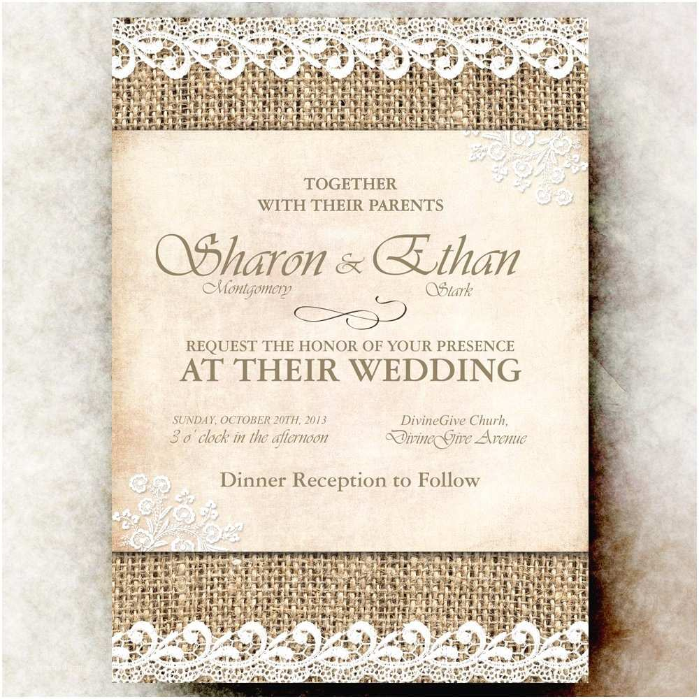 Burlap and Lace Wedding Invitations Burlap Wedding Invitation Lace Cottage Chic Wedding