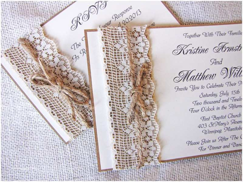Burlap and Lace Wedding Invitations Impressive Burlap and Lace Wedding Invitations