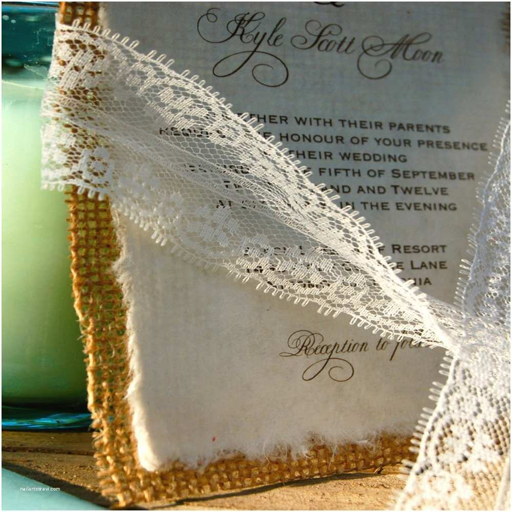Burlap and Lace Wedding Invitations Invitations by Alecia — Do It Yourself Lace and Burlap