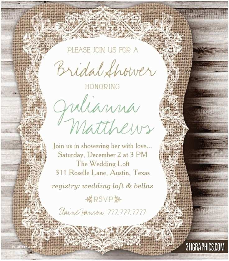 Burlap and Lace Wedding Invitations Rustic Burlap Lace Bridal Shower Burlap Rustic Lace