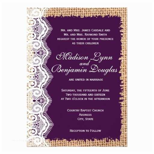 Burlap and Lace Wedding Invitations Rustic Burlap Lace Dark Purple Wedding Invitations