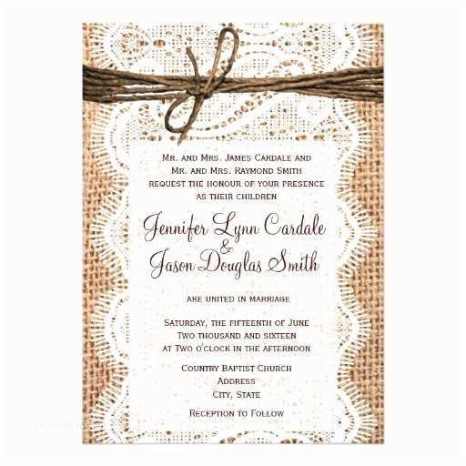 Burlap and Lace Wedding Invitations Rustic Country Burlap Lace Twine Wedding Invites