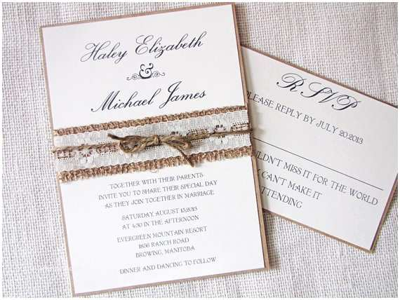 Burlap and Lace Wedding Invitations Rustic Wedding Invitation Burlap Wedding Invitation Lace