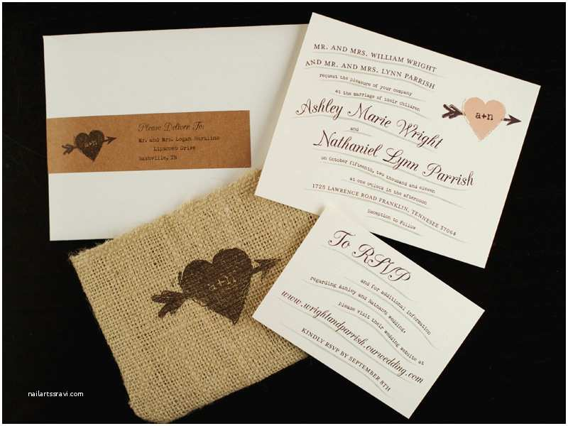 Burlap Wedding Invitations ashley Nathan S Whimsical and Rustic Burlap Wedding