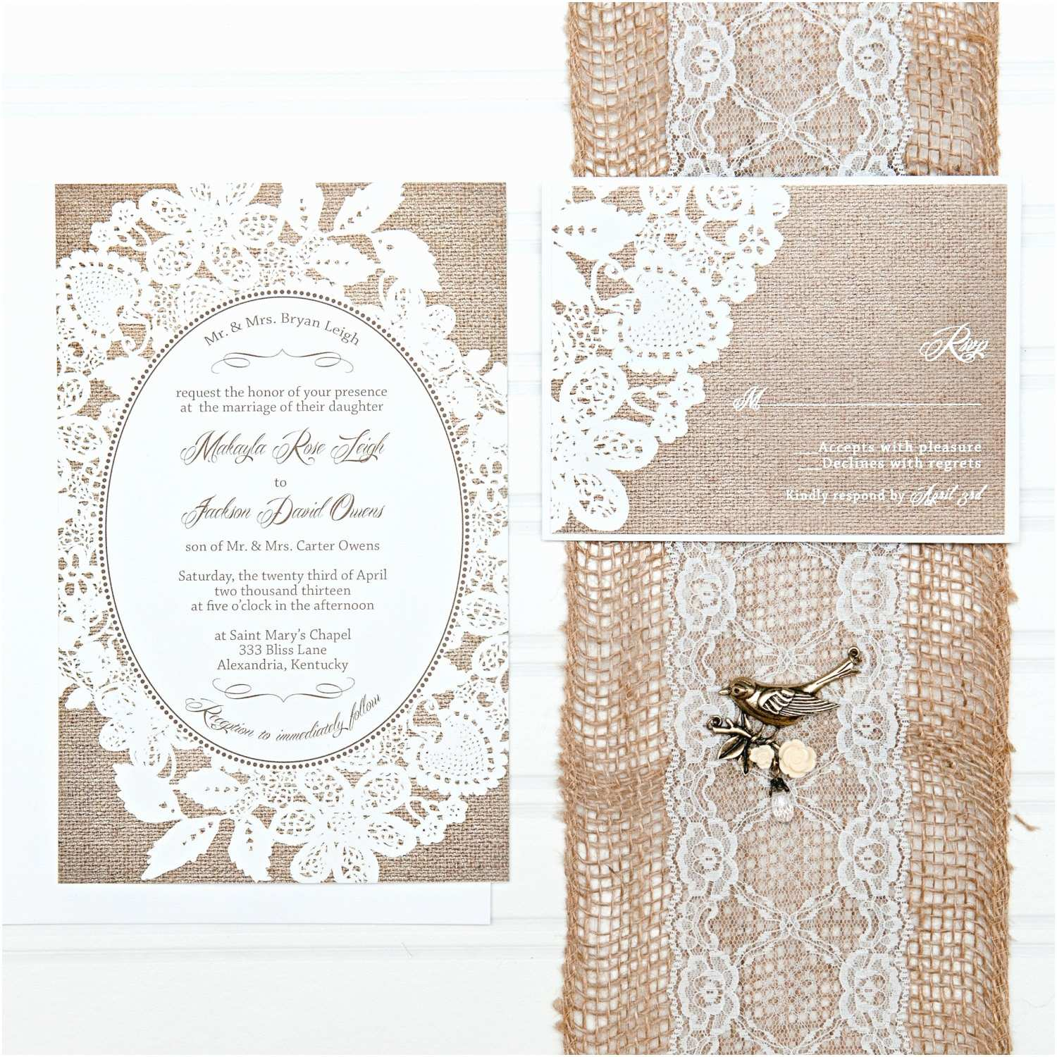 Burlap Wedding Invitations Burlap and Lace Wedding Invitation Suite Custom Invites