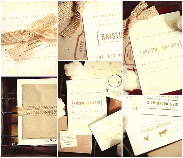 burlap wedding invitations and programs inspiration