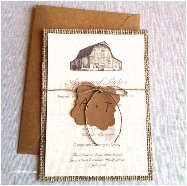 Burlap Wedding Invitations Etsy Paper Lemon Rustic Barn Burlap Wedding Invitations