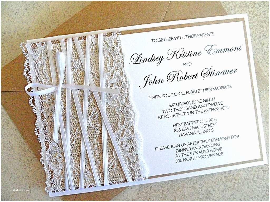 Burlap Wedding Invitations Lace Embellished Burlap Wedding Invitations