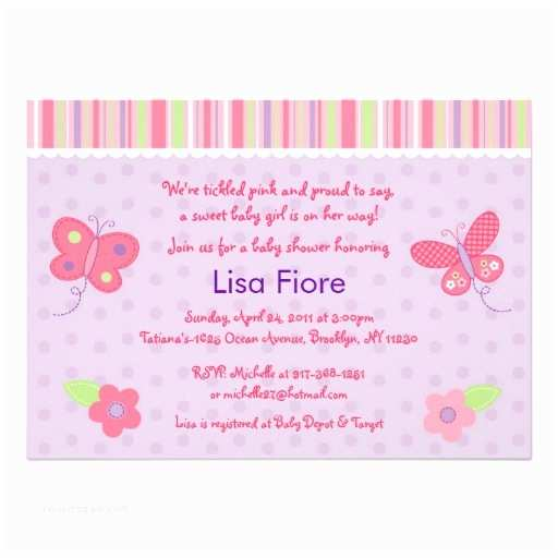 """Butterfly Baby Shower Invitations Baby Girl butterfly Custom Baby Shower Invitations 5"""" X 7"""