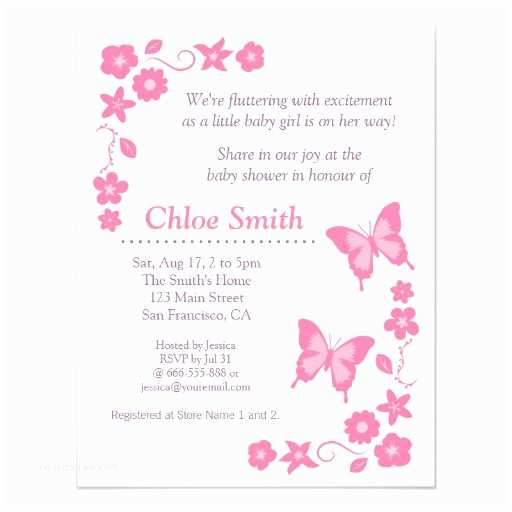 Butterfly Baby Shower Invitations Elegant Pink butterfly Baby Shower Party Custom Invitations