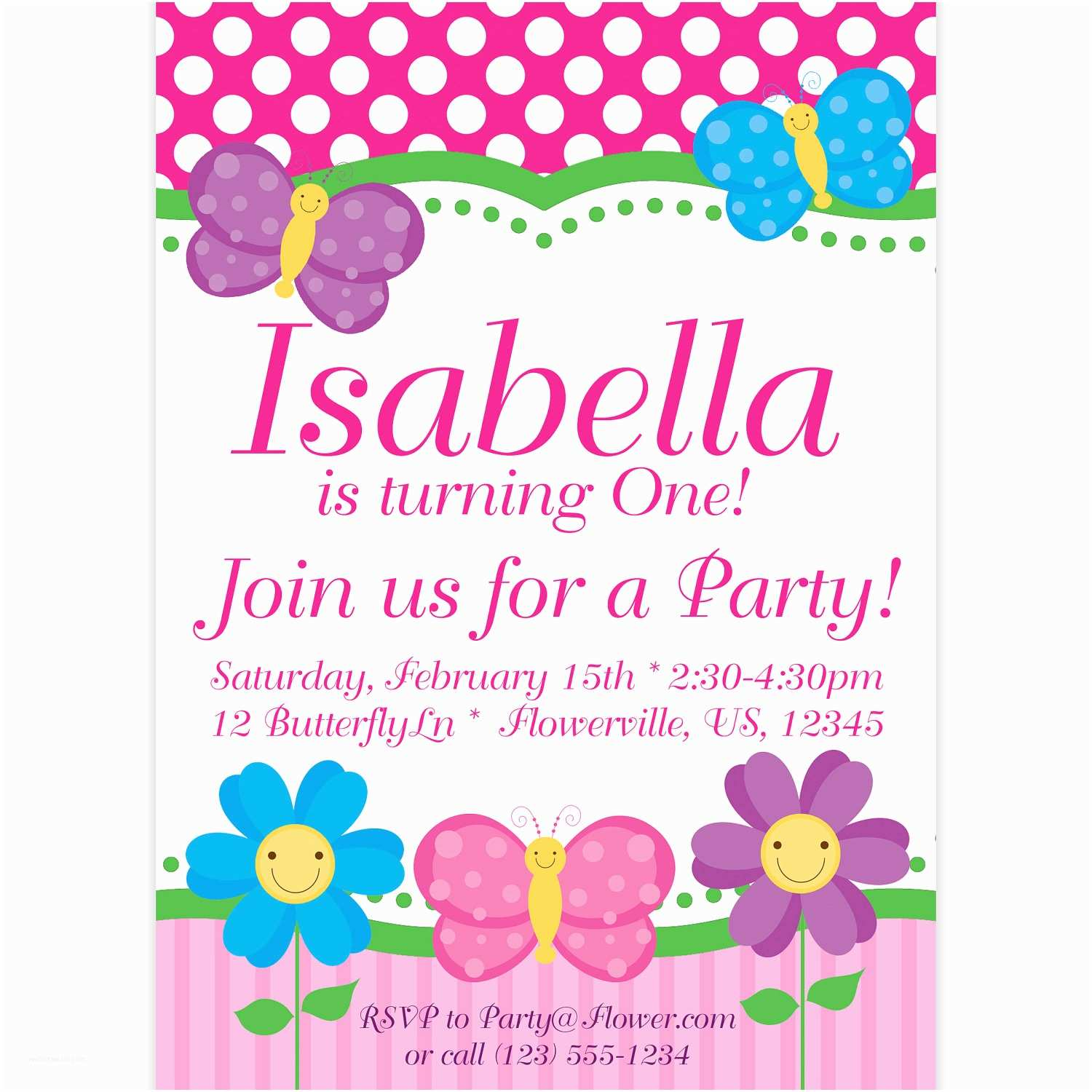 Butterfly Birthday Invitations butterfly Invitation Pink Polka Dots and Stripes butterflies
