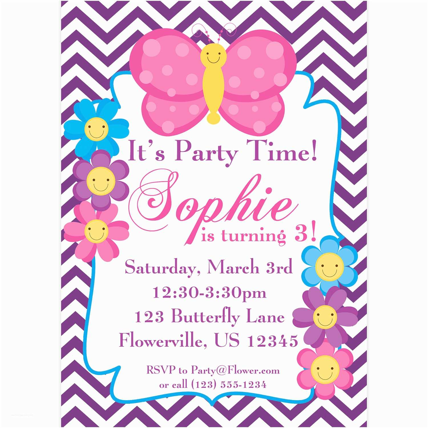 Butterfly Birthday Invitations butterfly Invitation Purple Chevron butterflies and Flowers