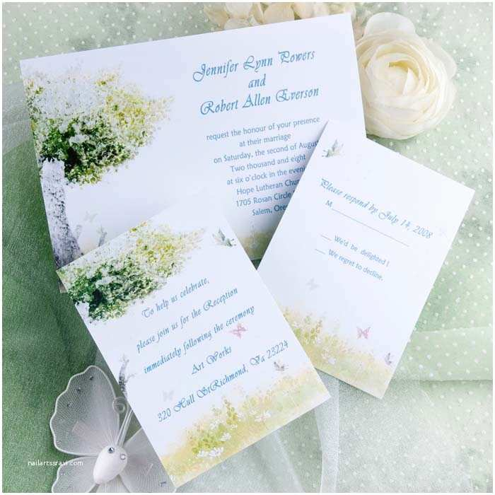 Butterfly Wedding Invitations Cheap Rustic Green Tree and butterfly Wedding Invitations