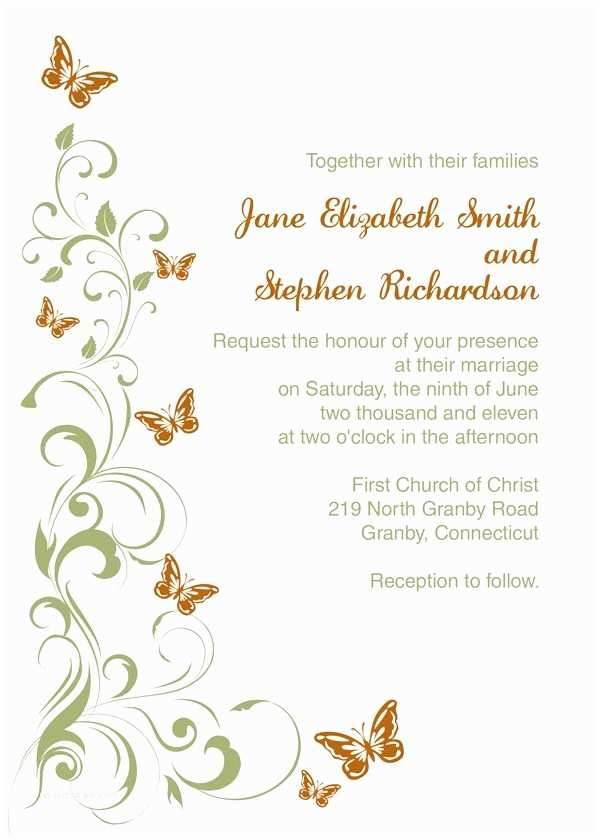 Butterfly Wedding Invitations Templates butterflies Wedding Invitation Template