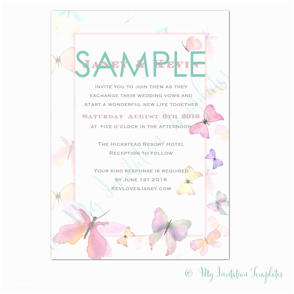 Butterfly Wedding Invitations Templates butterfly Invitations Template Resume Builder