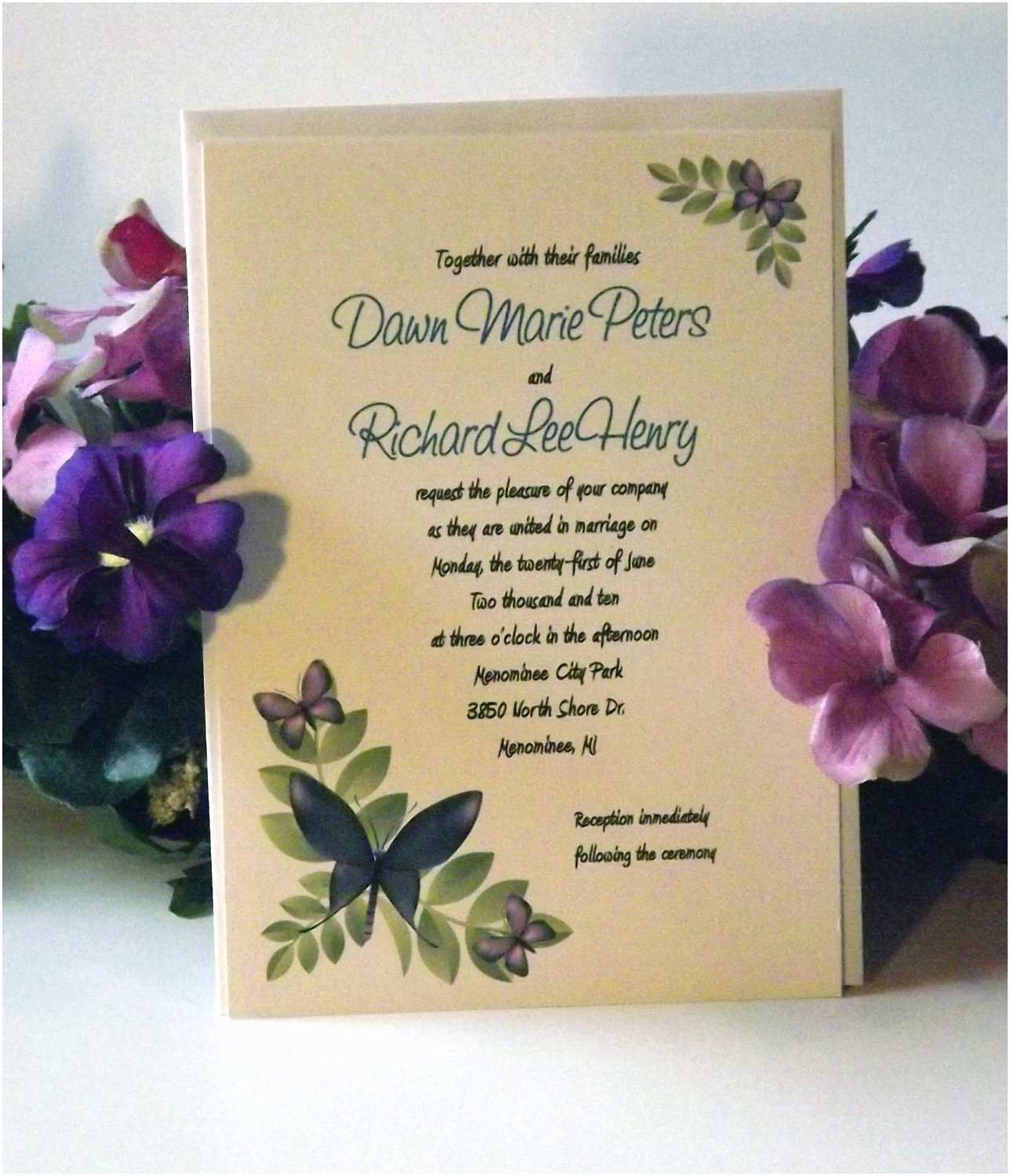 Butterfly Wedding Invitations Templates butterfly Wedding Invitation Etiquette