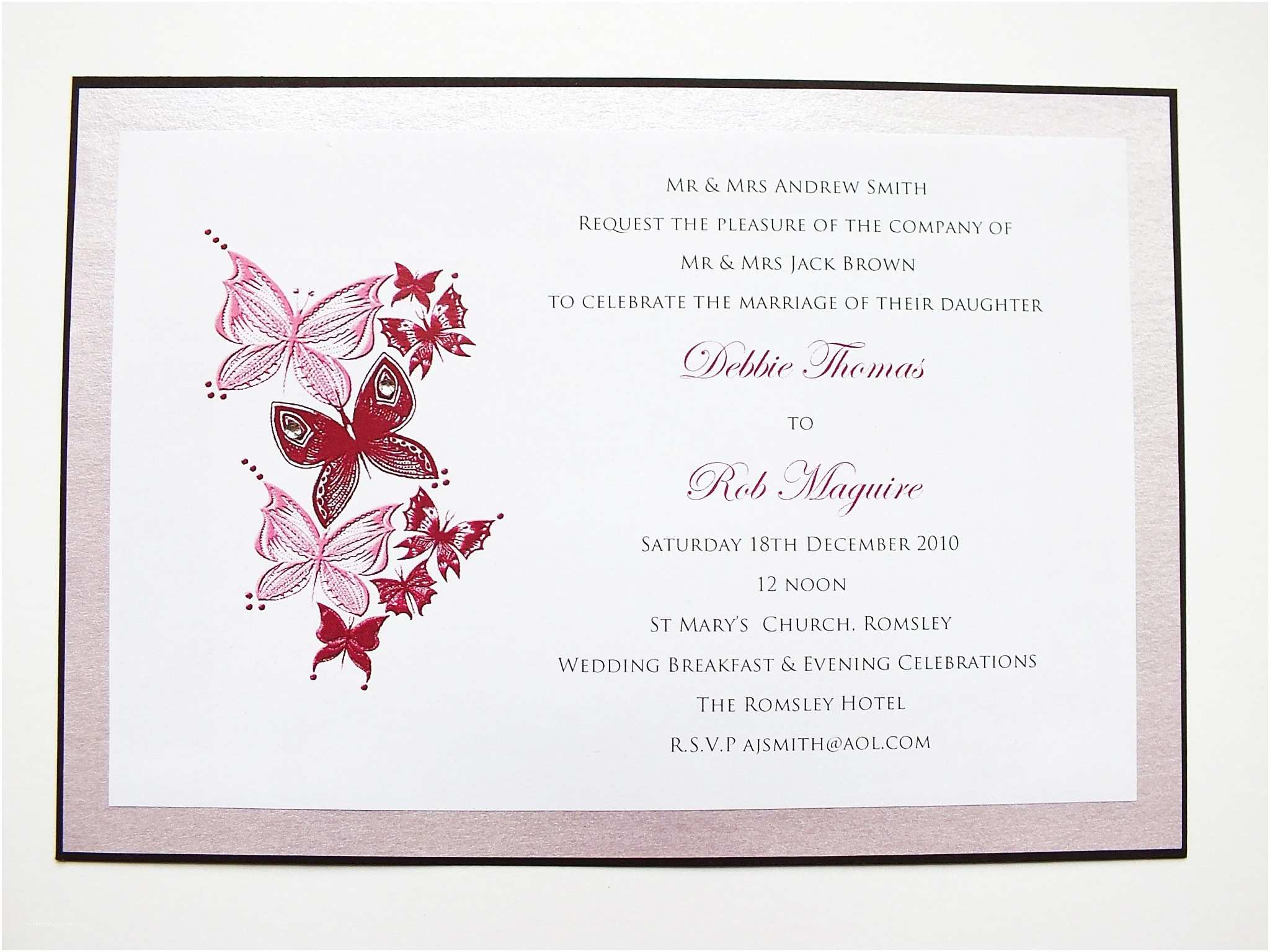 Butterfly Wedding Invitations Templates butterfly Wedding Invitations