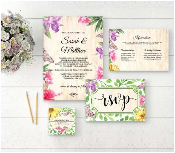 Butterfly Wedding Invitations Templates Floral butterfly Wedding Invitation Template by
