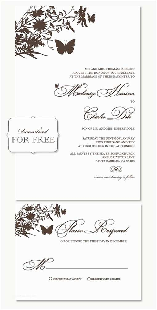 Butterfly Wedding Invitations Templates Free Samples From Shine Wedding Invitations