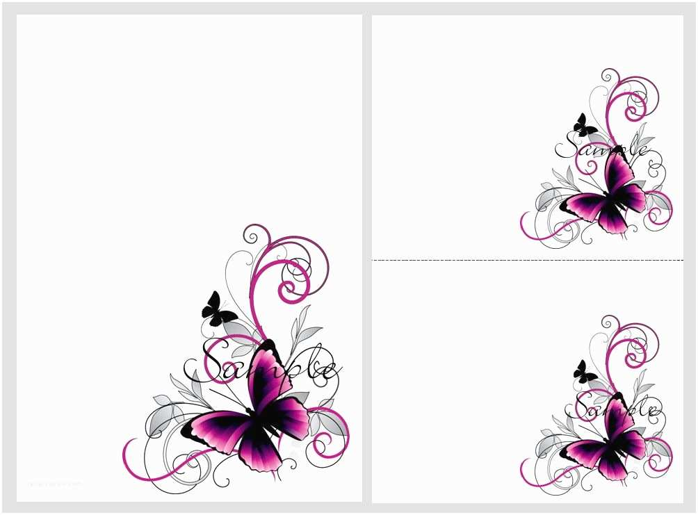Butterfly Wedding Invitations Templates Pretty Pink & Black butterflies Blank Invitation