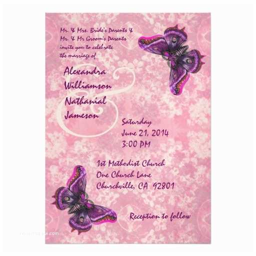 Butterfly Wedding Invitations Templates Purple and Pink butterflies Wedding Template 5x7 Paper