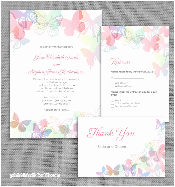 Butterfly Wedding Invitations Templates Spring butterflies Wedding Invitation Set ← Wedding