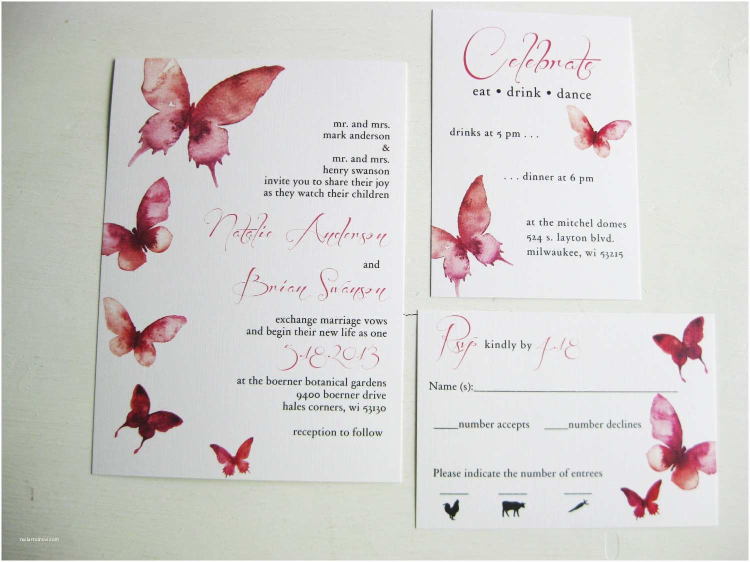 Butterfly Wedding Invitations Watercolor butterfly Wedding Invitations Dco Lovenotes