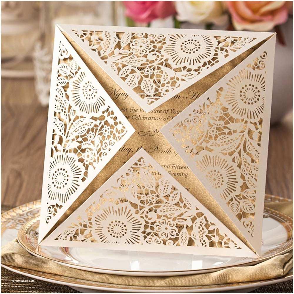 Buy Wedding Invitation Kits Aliexpress Buy Laser Cut Wedding Invitations Kits Ivory Flowers Party Invitation Cards for