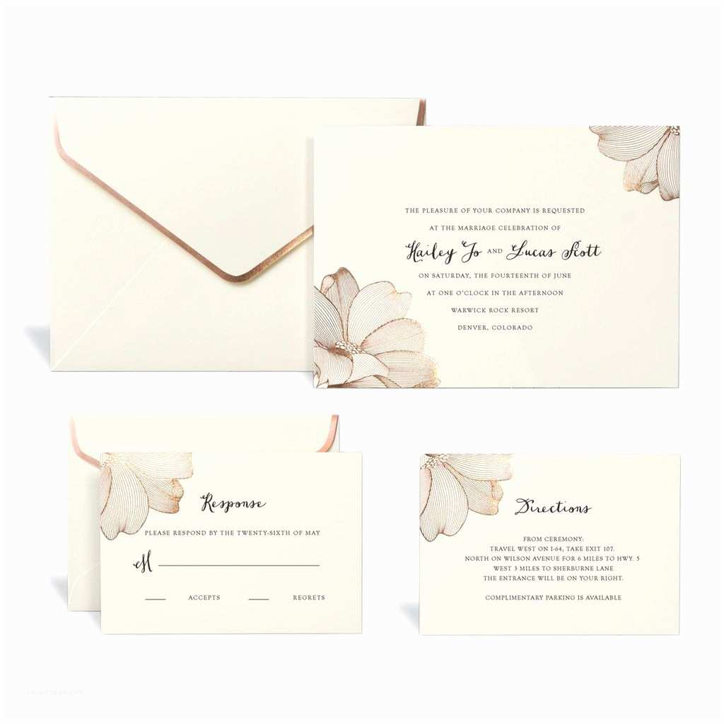 Buy Wedding Invitation Kits Buy the Rose Gold Floral Wedding Invitation Kit by Celebrate It™ at Michaels Nothing Spells