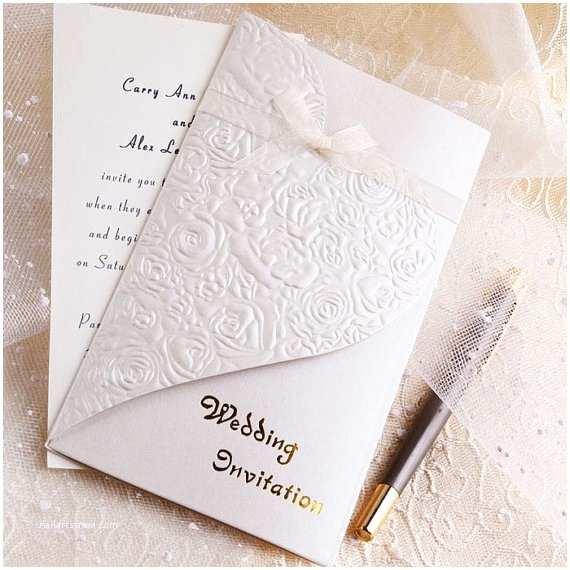 Buy Wedding Invitation Kits Elegant Heart Wedding Invitations – Pocket Fold Wedding Invitation Kits Romantic Rose Design