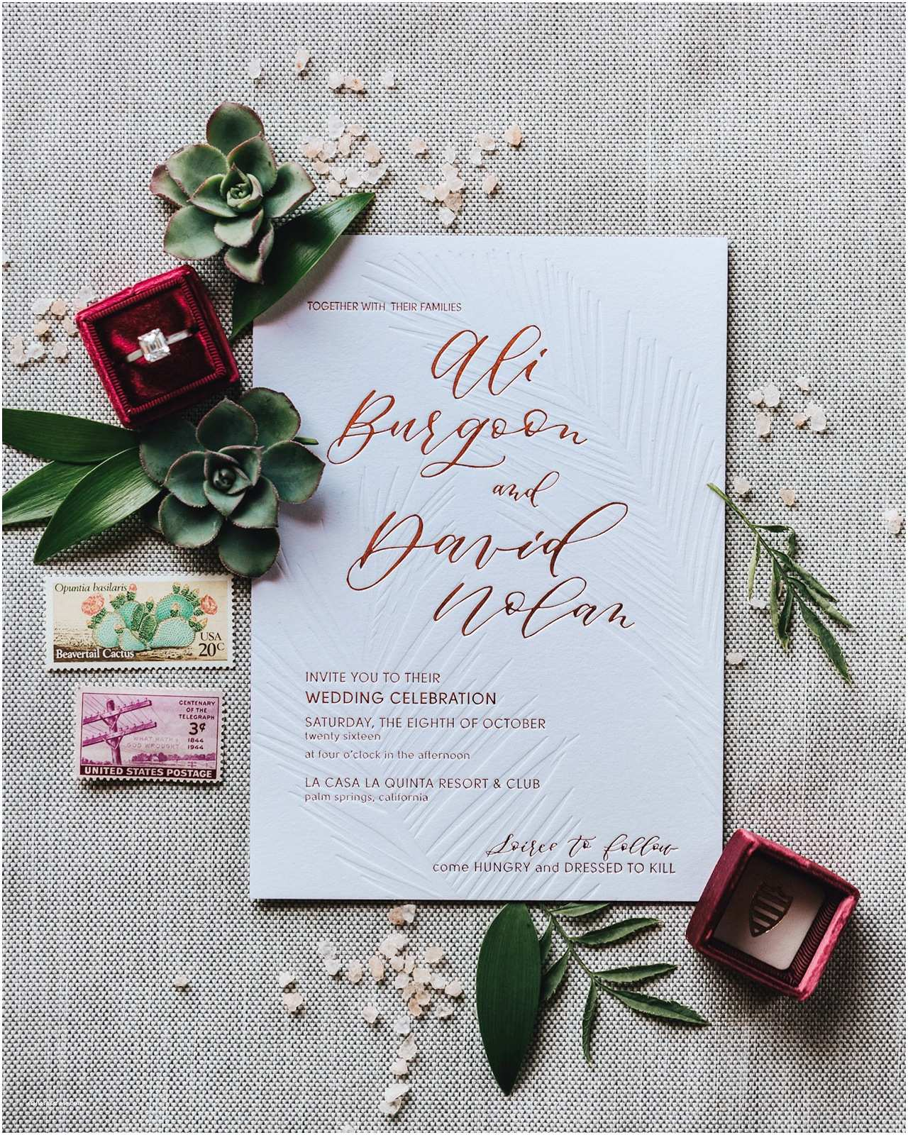 Cactus Wedding Invitations Cactus and Calligraphy Wedding Invitations