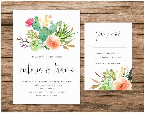 Cactus Wedding Invitations Cactus and Succulent Invitation Desert by Alexanelsonprints