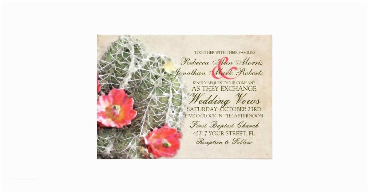 Cactus Wedding Invitations Cactus Flowers Wedding Invitation