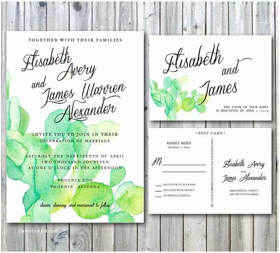 Cactus Wedding Invitations Cactus Wedding Invitation Deposit Desert by