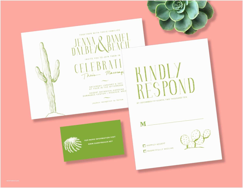 Cactus Wedding Invitations Desert Cactus Printable Wedding Invitations