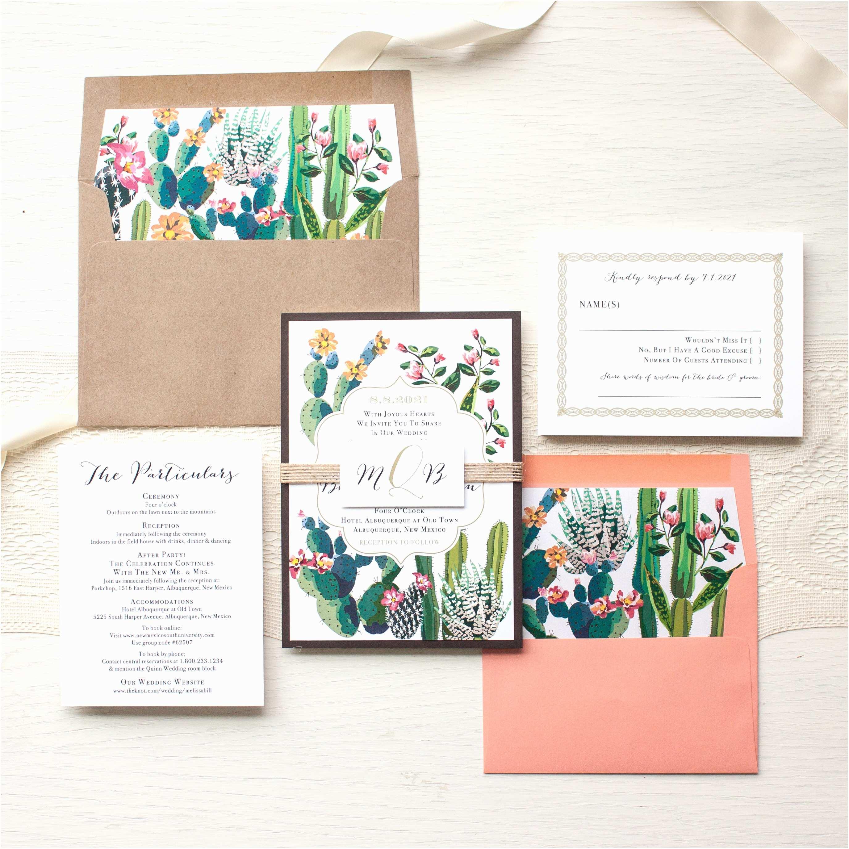Cactus Wedding Invitations Desert Love Wedding Invitations