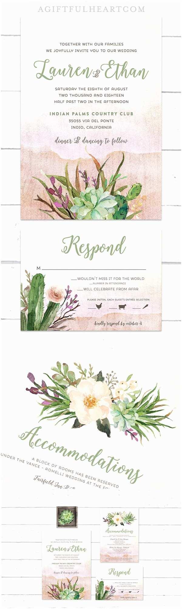 Cactus Wedding Invitations Desert Succulent Cactus Wedding Invitations