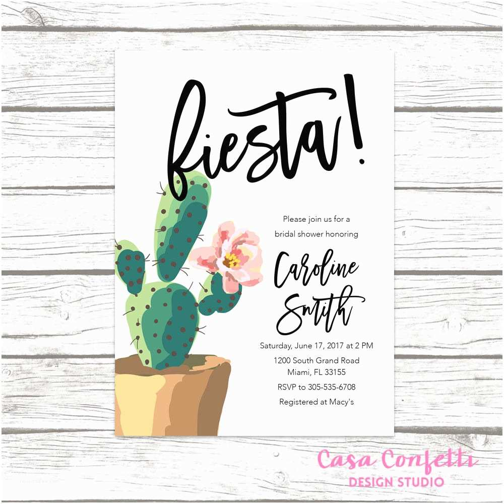 Cactus Wedding Invitations Fiesta Bridal Shower Invitation Cactus Bridal Shower