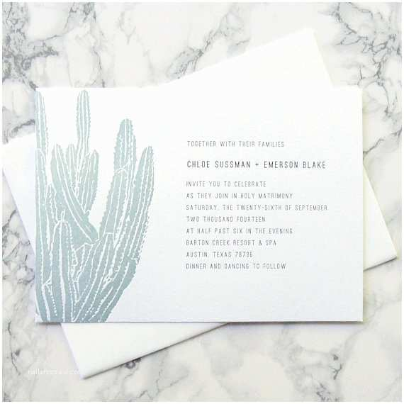 Cactus Wedding Invitations Letterpress Sample Letterpress Wedding Invitation Cactus