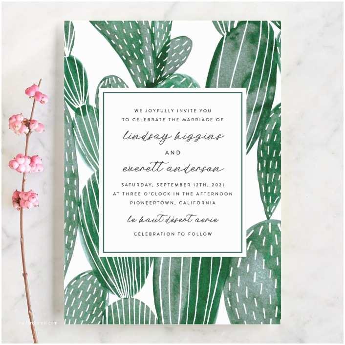 Cactus Wedding Invitations Painted Cacti Wedding Invitations by Olivia Raufman