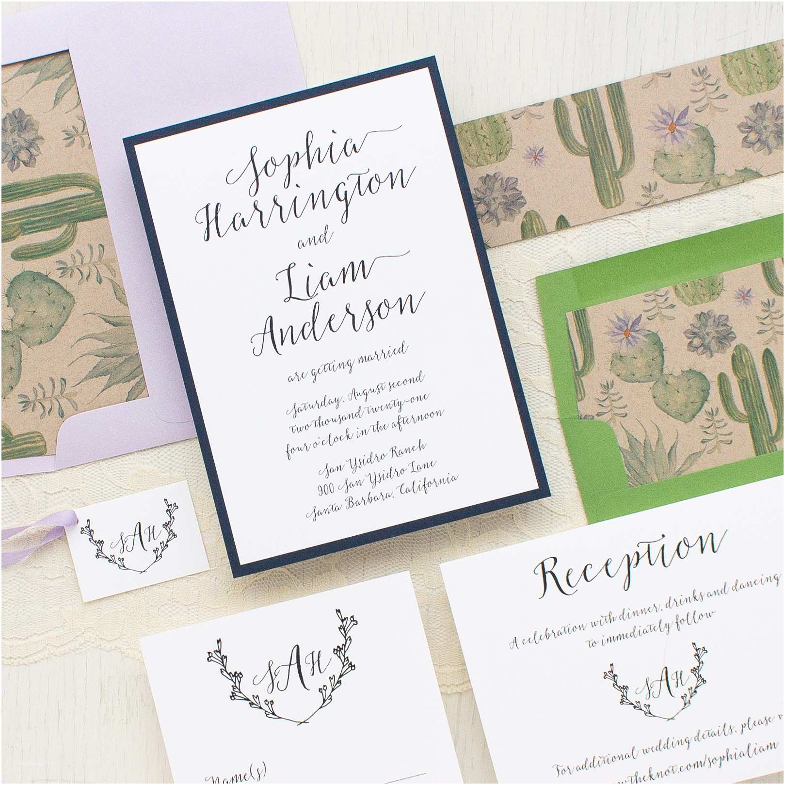 Cactus Wedding Invitations Sage Cactus Wedding Invitations