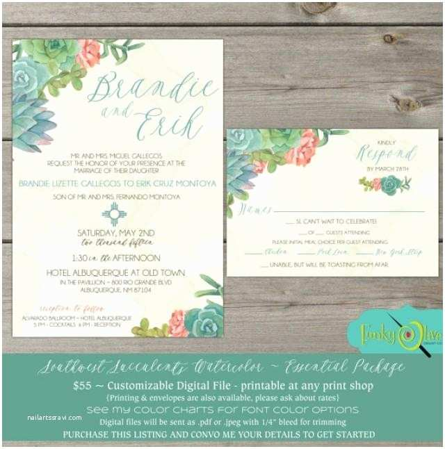 Cactus Wedding Invitations Wedding Invitation southwest Succulents Watercolor Cactus