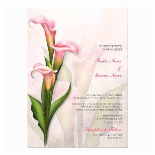"""Calla Lily Wedding Invitations Calla Lily Pink Wedding Invitation 5"""" X 7"""" Invitation Card"""