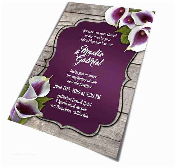 Calla Lily Wedding Invitations Calla Lily Wedding Invitation For Rustic Wedding