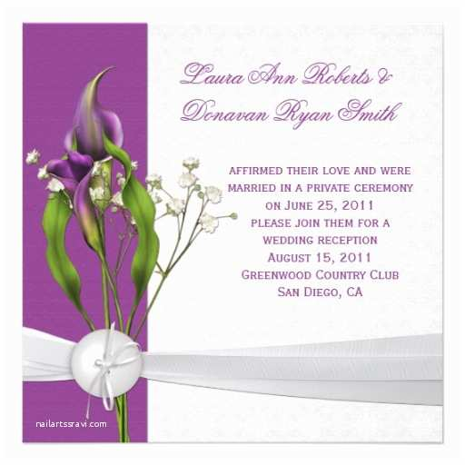 Calla Lily Wedding Invitations Purple Calla Lilies White Damask Post Wedding 5 25x5 25
