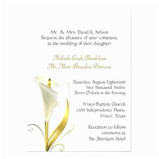 Calla Lily Wedding Invitations Traditional Ivory Calla Lily Wedding Invitation 13 Cm X