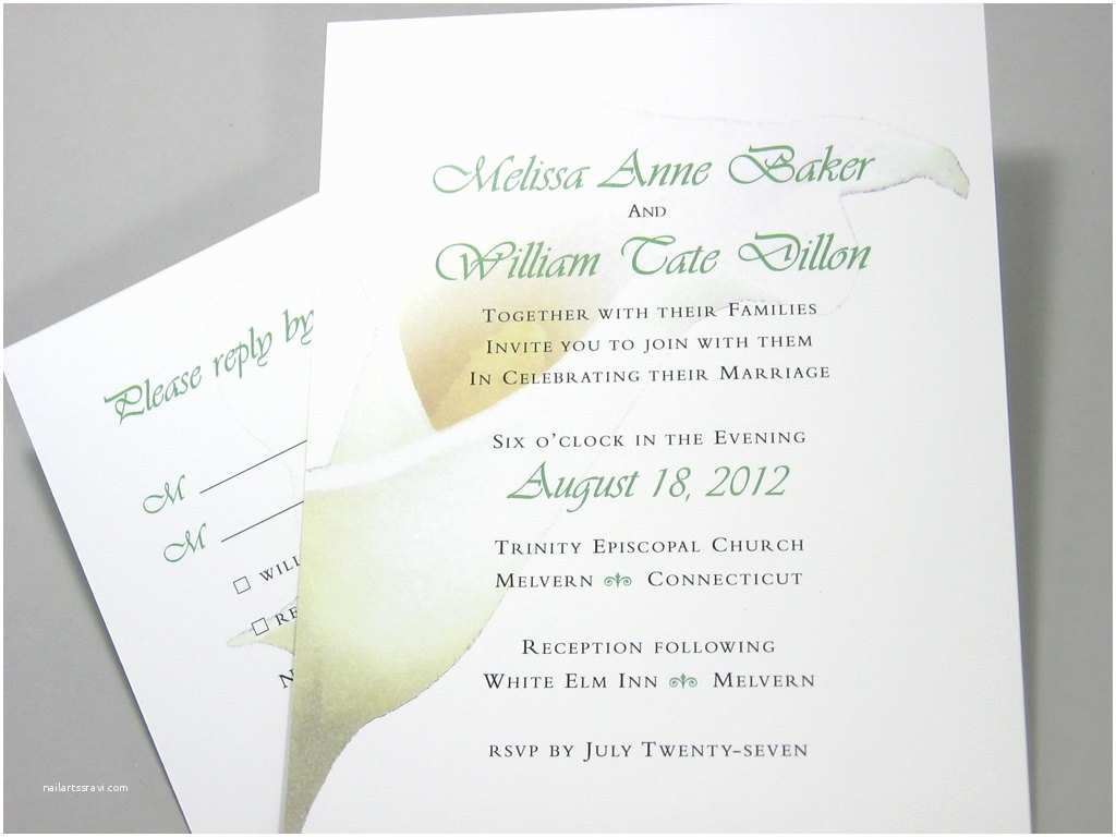 Calla Lily Wedding Invitations Wedding Invitation Calla Lily Flower Custom Traditional