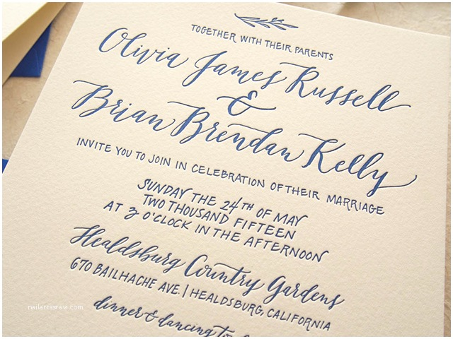 Calligraphy for Wedding Invitations Cobalt Calligraphy Wedding Invitations